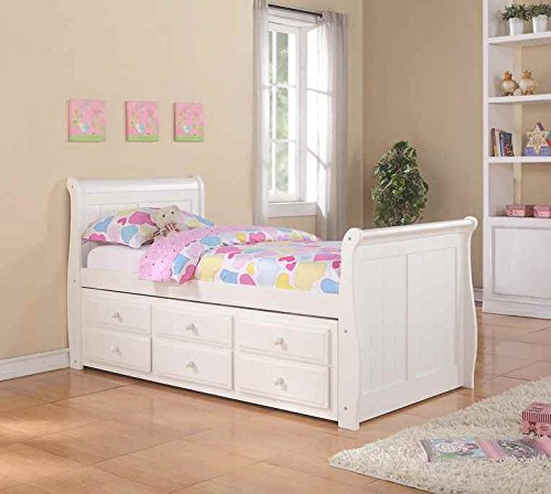 Donco Kids Twin Sleigh Captains Bed with Twin Trundle and Storage Drawers in White