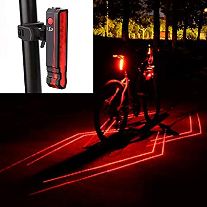 New 5 Led Waterproof Usb Rechargable  Bicycle Tail Light Safty Warning Rear Lamp