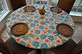 Elastic Edged Flannel Backed Vinyl Fitted Table Cover - Floral Pattern - Small Round - Fits Tables up to 44'' Diameter