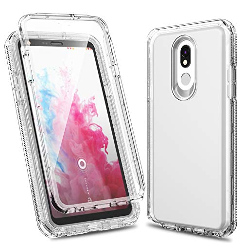 (LG Stylo 5 Case, ACKETBOX Shockproof Drop Protection PC Back Case+TPU Cover and Bumper Built-in Protective Film Full Body Protective Cover Case for LG Stylo 5 2019 Release (Clear))