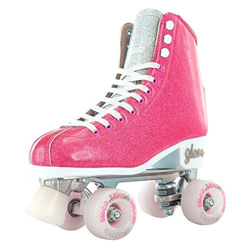 Crazy Skates Disco Glitter GLAM Roller Skates for Ladies, Girls, Kids Pink/Silver Rollerskate (Eu40/US M7.5-L8.5) (Skates Speed Bullet)