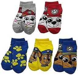 Paw Patrol Toddler Boys Nickelodeon Boys 5Pk Shorty Socks, Assorted, 5-6.5