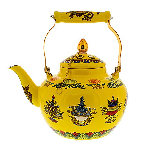 Cheftor 3.2 qt Enameled Steel Apple Shaped Tibetan Buddhist Style teapot and kettle with 8 Auspicious Tibetan Buddhist Symbols, Yellow
