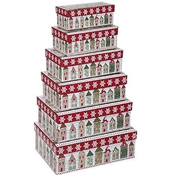 Geschenkkarton Weihnachten.Annastore 6 Tlg Set Geschenkboxen Weihnachten Geschenkkarton Weihnachten Weihnachtsverpackung