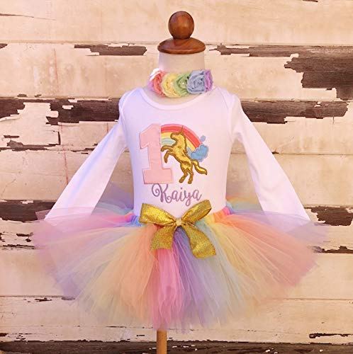 b6eef838c Image Unavailable. Image not available for. Color: Pastel Unicorn Rainbow  1st Birthday Tutu Outfit- Personalized Baby Girl