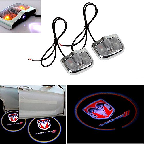 (CHAMPLED for Dodge Laser Projector Logo Illuminated Emblem Under Door Step Courtesy Light Sticker No Drill Lighting Symbol Sign Badge LED Glow Car Auto Tuning Accessory Self Adhesive)
