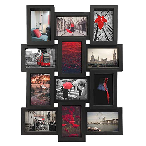PETAFLOP 4x6 Picture Frames Collage 12 Openings Black Multi Frame 4 x 6, Wall Mounted Vertically or Horizontally (Large Multi Frame Frame Photo)