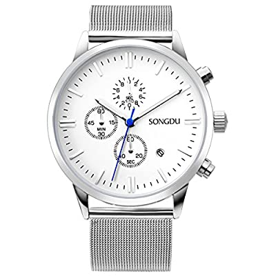 SONGDU Unisex Chronograph Watch Big Face Stopwatch with Date Calendar and Milanese Mesh Strap by SONGDU