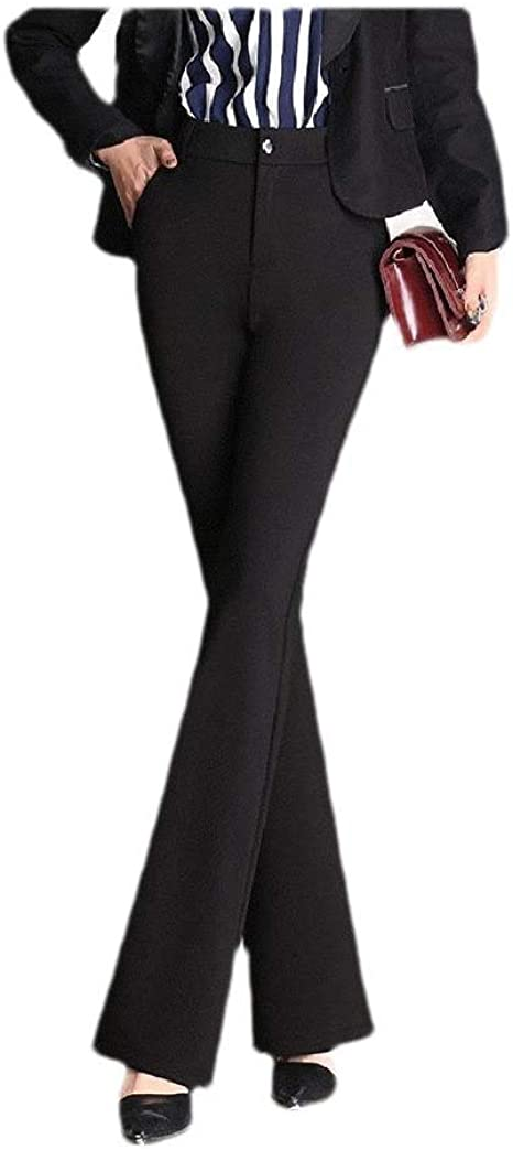 Nicellyer Womens Highwaist Solid Oversize Wide Leg Stretch Slim Fitted Pencil Pants