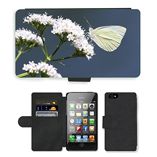 Just Phone Cases PU Leather Flip Custodia Protettiva Case Cover per // M00127523 Papillon Insecte Animal Flower // Apple iPhone 4 4S 4G