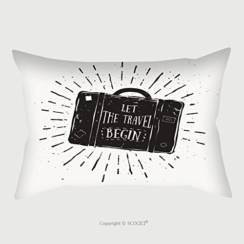 Custom Satin Pillowcase Protector Let The Travel Begin Motivational Quote On Suitcase Vintage Illustration For Poster Banner 338740628 Pillow Case Covers Decorative by chaoran