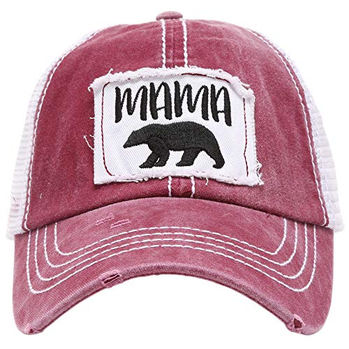(MIRMARU Women's Baseball Caps Distressed Vintage Patch Washed Cotton Low Profile Embroidered Mesh Snapback Trucker Hat (Mama Bear, Burgundy))