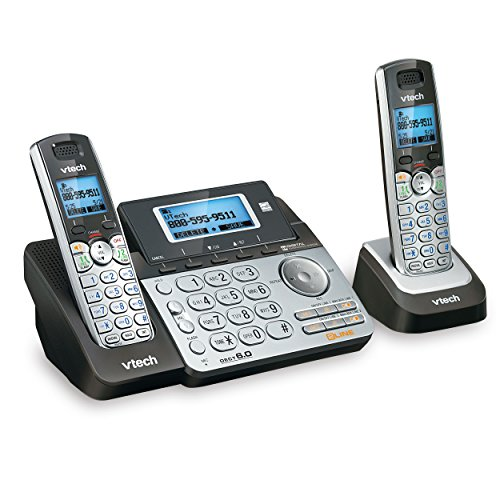 (VTech DS6151-2 2 Handset 2-Line Cordless Phone System for Home or Small Business with Digital Answering System & Mailbox on Each line, Silver)