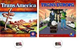Bundle of TransAmerica and TransEuropa Board Games Plus Two Train Buttons