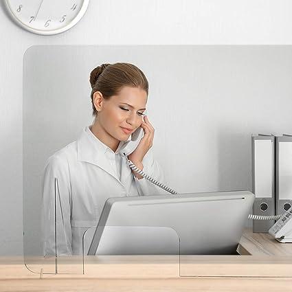 Mampara Protección Anticontagio | Mampara de Metacrilato 4mm | Mampara con Patas de Soporte | Modelo Alpha (90 x 65 cm): Amazon.es: Oficina y papelería