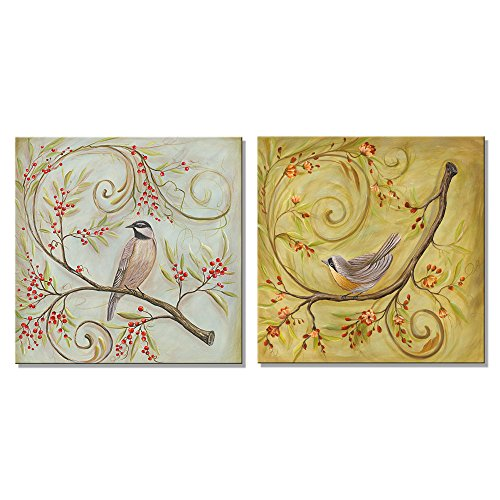Pyradecor Birds and Flower Canvas Prints Wall Art Blooming Trees Pictures by Floral Oil Paintings Style for Living Room Bedroom Home Office Decorations 2 Pieces Modern Giclee Landscape Artwork