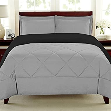 Sweet Home Collection 3 Piece Reversible Down Alternative Comforter Set with Euro Pillow Shams, Full/Queen, Black/Gray