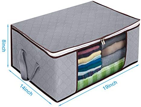 Awekris Foldable Storage Bag, Set of 3 Large Foldable Clothes Organizer, Clear Window & Carry Handles, Great for Clothes, Blankets, Closets, Bedrooms and More (Grey)