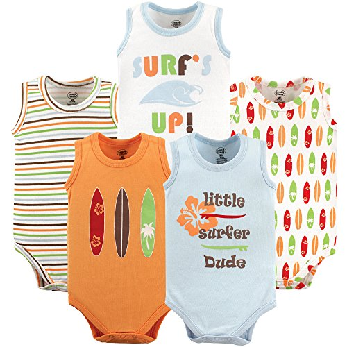 Luvable Friends Baby Infant 5-Pack Lightweight Sleeveless Bodysuits, Surfer, 12-18 Months
