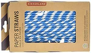 Kikkerland Biodegradable Paper Straws, Blue and White Striped, Box of 144