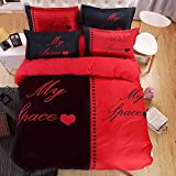KTLRR Couple Queen/King Size Duvet Cover Sets(no comforter) -Red and Black Polyester Bedding Set (King, Pattern#01)
