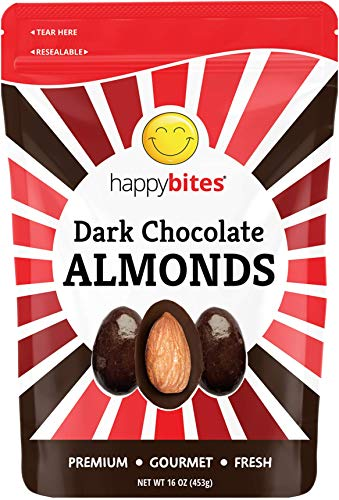 Happy Bites Dark Chocolate Covered Almonds - Dark Chocolate - Resealable Pouch Bag (1 Pound)