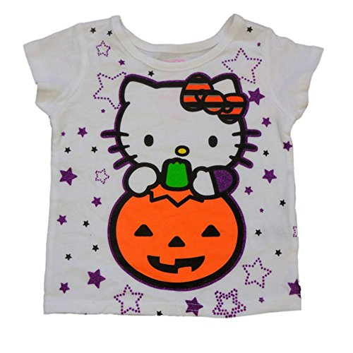 Hello Kitty Infant & Toddler Girls White Halloween Shirt Pumpkin Cat T-Shirt 4T
