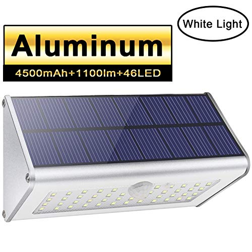 Solar Outdoor Security Wall Lights, Licwshi 1100lm 46 LED 4500mAh Silver Aluminum Alloy Infrared Motion Sensor Waterproof Night Lights for Garden, Patio, Fence, Yard, Driveway, Front Door- White Light