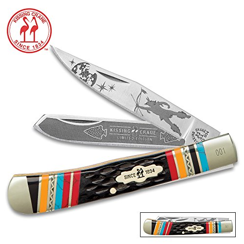 Kissing Crane Warrior Moon Trapper Pocket Knife / Folder - Collectible Limited Edition, Native American Theme, Serialized Bolsters - 440 Stainless Steel Clip, Spey; Laser Etched American Indian Art