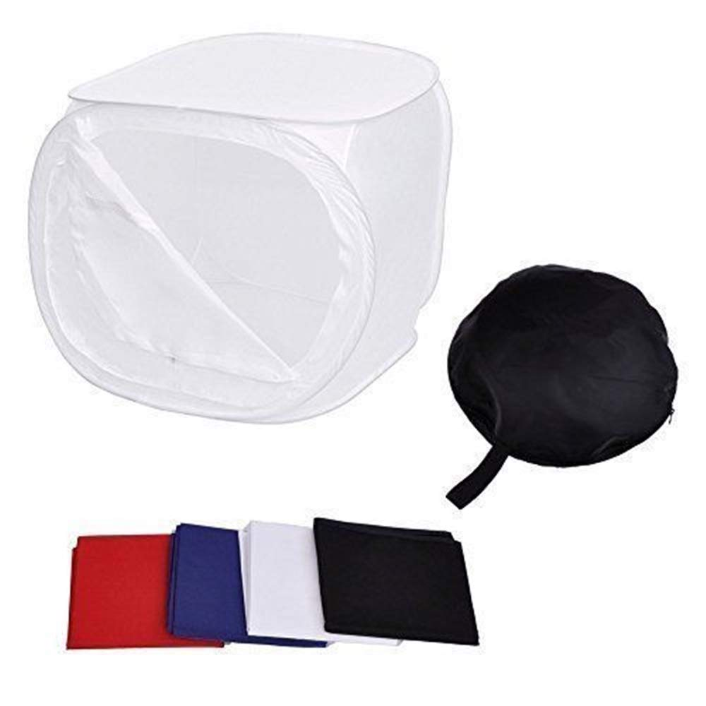 Dj_siphraya Box Light Portable Photo Studio Tent Square .4 Colored Backdrops Made of Premium Quality Fabric.Size: 50cm x 50cm x 50cm (19.69'' x 19.69'' x 19.69'').Perfect for Small Objects by Dj_siphraya