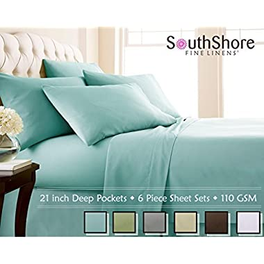 Southshore Fine Linens 6 Piece - Extra Deep Pocket Sheet Set - SKY BLUE - Queen