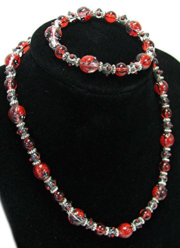 Linpeng 040803-03 Hand Painted Ladybug On Clear Glass Beads Stretch Bracelet and Necklace in Bag, -