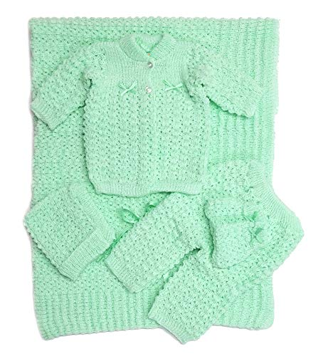 Newborn Baby Crochet Blanket 5 Piece Set Hat, Booties, Sweater, Pants (Green) - Baby Set Sweater