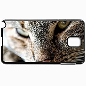 Customized Cellphone Case Back Cover For Samsung Galaxy Note 3, Protective Hardshell Case Personalized Cat Face Color Striped Black
