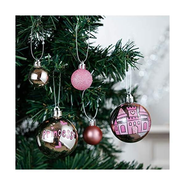 Valery Madelyn Palle di Natale 70 Pezzi di Palline di Natale, 3-10 cm Ricoperte di Zucchero Rosa e Oro Infrangibile Ornamenti di Palla di Natale Decorazione per la Decorazione Dell'Albero di Natale 4 spesavip