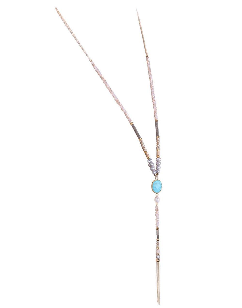 KELITCH Pearl Crystal Beaded Necklace Tassel Gems Pendant Statement Long Necklace for Women AMN0310DK