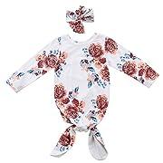 Newborn Baby Girls Sleepy Floral Striped Gown Headband Sleepwear Romper Sleeping Bags (0-3M, White Floral)