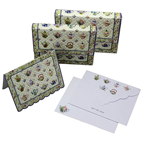 Embossed Portfolio Mini (Teapot Quilt Embossed Set of 10 Blank Note Cards, Envelopes, and Mini Portfolio Pouch, Designed by Carol Wilson (Two (2) Sets))