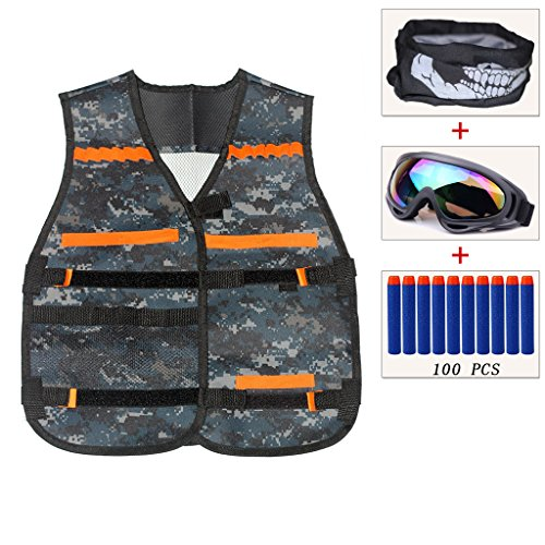 ENNRUI Kids Camouflage Tactical Vest Jacket Kit (with 100pcs Blue Foam Darts +Windproof Protective Goggles + Seamless Face Mask ) for Nerf Toy Gun N-strike Elite Series