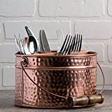 HC Elegant Home Copper Hammered Flatware Caddy Organizer for Kitchen Counter-top/Outdoor Storage Dining Table - Comfortable Handle (Round)