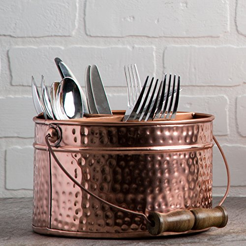 HC Elegant Home Copper Hammered Flatware Caddy Organizer for Kitchen Counter-top/Outdoor Storage Dining Table - Comfortable Handle (Round) by HC