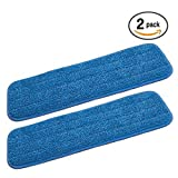 2 Microfiber Mop Pads Washable Commercial Quality, Replacement Refills for Velcro Style Flat Mops - Use Wet or Dry
