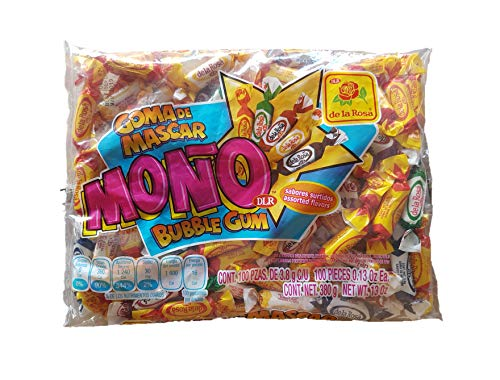 Original De la Rosa Mono Chewing Gum 390g/13.0oz Classic Mexican version individualy wrapped pieces of multi colored and flavored gum chicle tipicos clasicos originales dulces tipicos fruit spearmint ()
