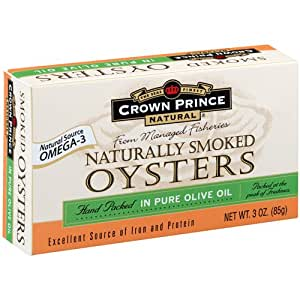 Crown Prince Natural Smoked Oysters in Pure Olive Oil, 3-Ounce (Pack of 9)