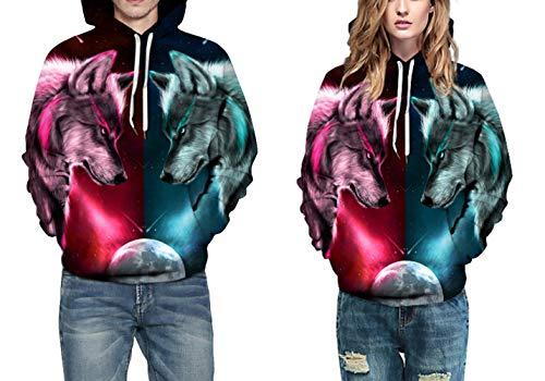 Grafica Due Stampata Colori Divertente Colorata 3d Unisex Hoodie Pullover Cappuccio Con Tasche Felpa Del Lupo 5R4Aj3L