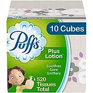 Puffs Plus Lotion Facial Tissues, 10 Cubes, 52 Tissues Per Box (520 Tissues Total)