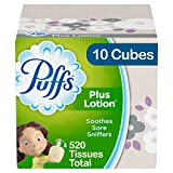 Puffs Plus Lotion Facial Tissues, 10 Cubes, 52 Tissues per Box (520 Tissues Total): more info