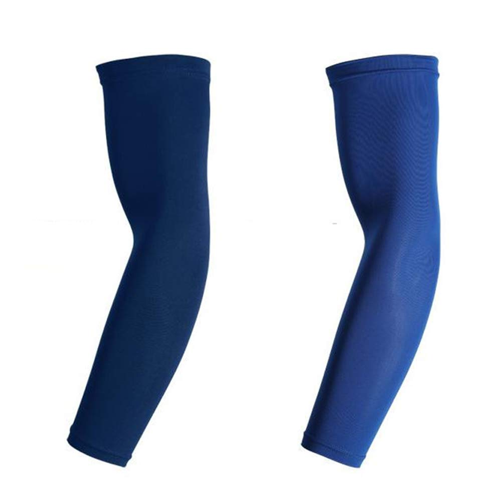elegantstunning Sports Enlarged Arm Protector Breathable Anti-slip Elbow Pad Sleeve for Cycling Running Navy L