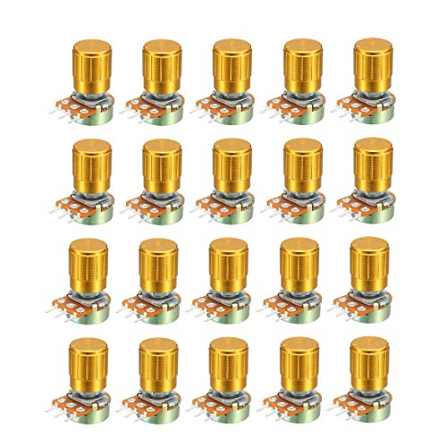 uxcell WH148 5K Ohm Variable Resistors Single Turn Rotary Carbon Film Taper Potentiometer W Knobs 20pcs