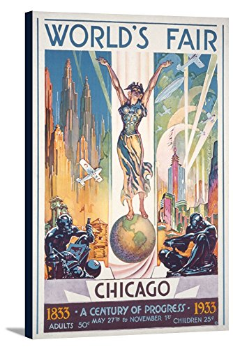 Chicago World's Fair Poster - Woman on Globe (24x36 Gallery Wrapped Stretched (Chicago Worlds Fair Framed Art)